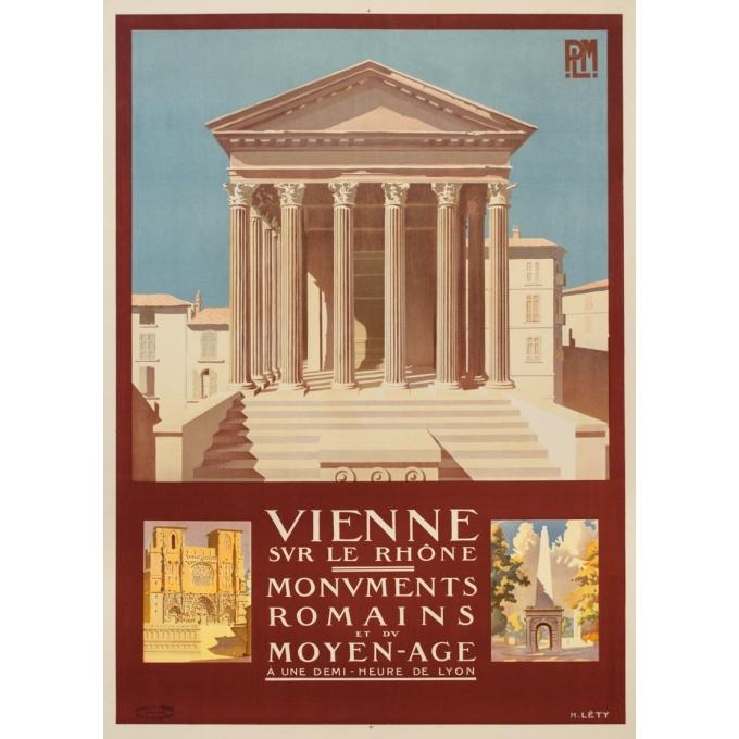 Affiche ancienne de voyage - H.Léty - Circa 1920 - Vienne Sur Le Rhone - 108 par 79 cm