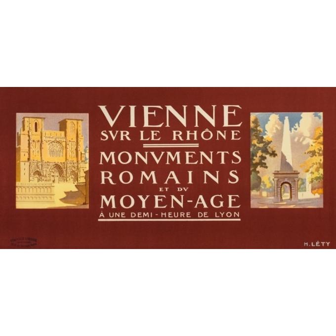 Affiche ancienne de voyage - H.Léty - Circa 1920 - Vienne Sur Le Rhone - 108 par 79 cm - 3
