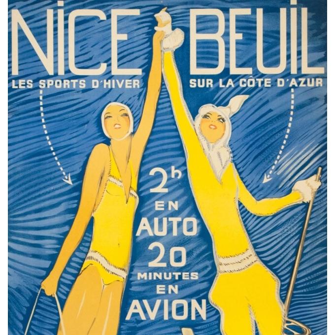 Affiche ancienne de voyage - Jean Gabriel Domergue - Circa 1950 - Nice Beuil - 101.5 par 61 cm - 2