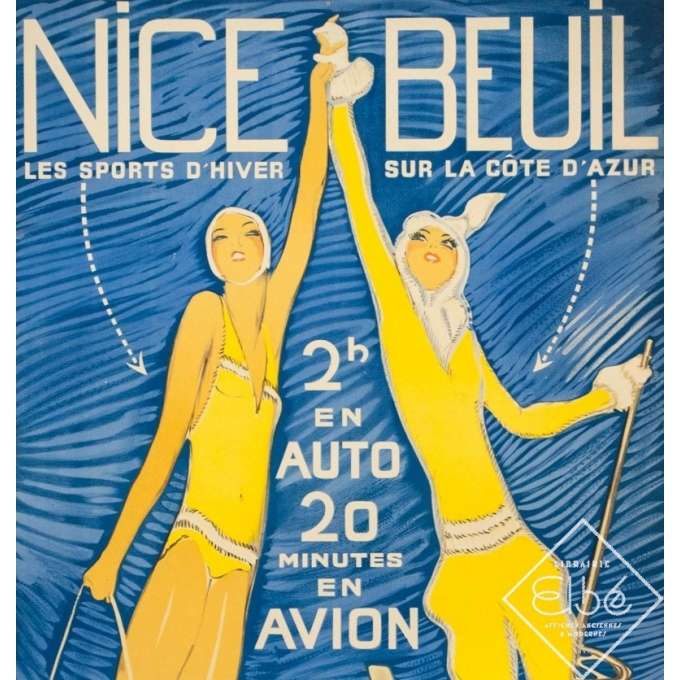 Vintage travel poster - Jean Gabriel Domergue - Circa 1950 - Nice Beuil - 40 by 24 inches - 2