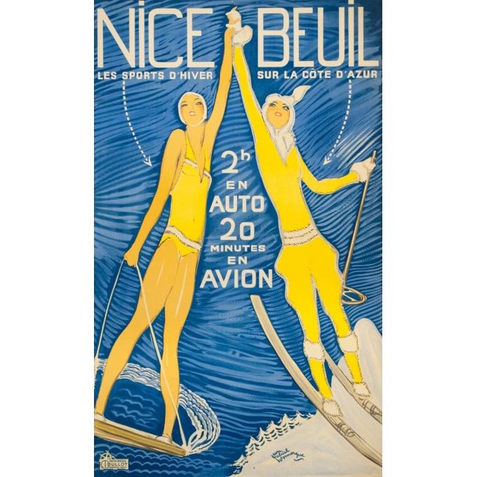 Affiche ancienne de voyage - Jean Gabriel Domergue - Circa 1950 - Nice Beuil - 101.5 par 61 cm