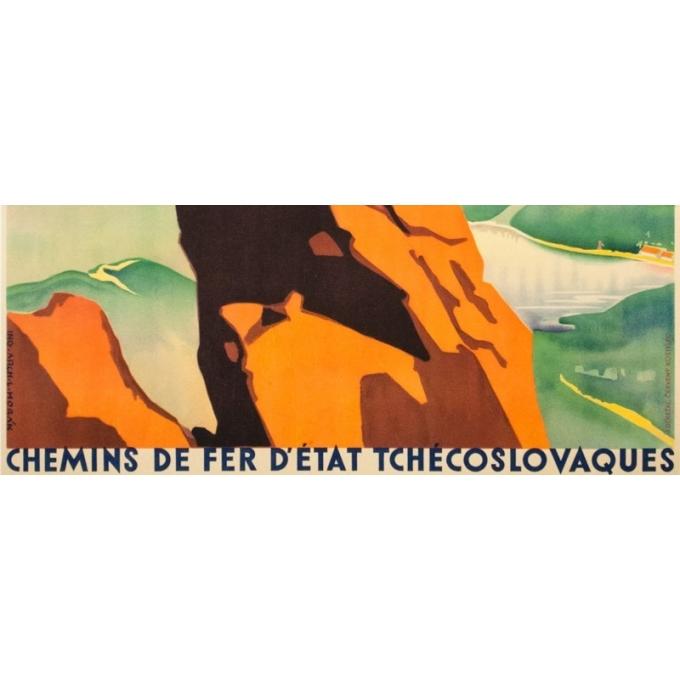 Affiche ancienne de voyage - Arch. L.Horak - Circa 1935 - Tchecoslovaquie Alpinisme - 94 par 61 cm - 3