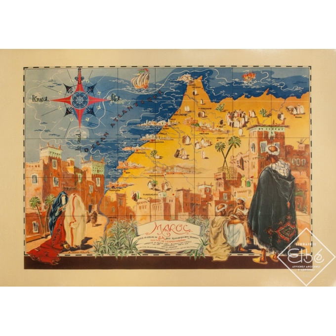 Vintage travel poster - G.Carriat - 1947 - Carte Maroc - 42.1 by 29.9 inches