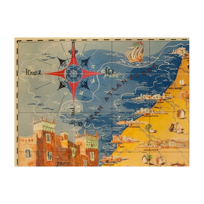Vintage travel poster - G.Carriat - 1947 - Carte Maroc - 42.1 by 29.9 inches - 2