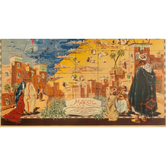 Vintage travel poster - G.Carriat - 1947 - Carte Maroc - 42.1 by 29.9 inches - 3