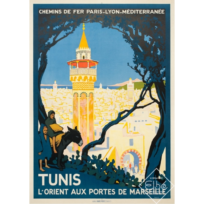 Vintage travel poster - Rogers Broders - 1920 - Tunis L'Orient Aux Portes de Marseille - 42.3 by 30.3 inches