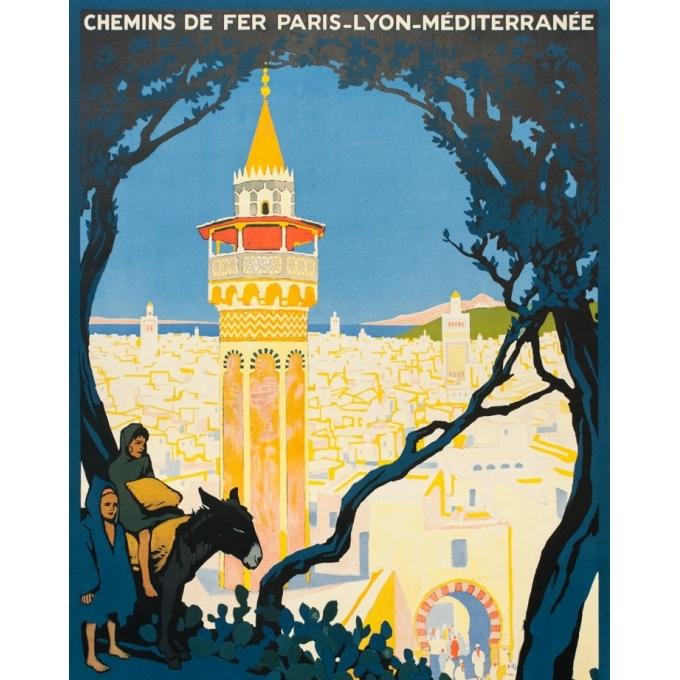 Vintage travel poster - Rogers Broders - 1920 - Tunis L'Orient Aux Portes de Marseille - 42.3 by 30.3 inches - 2