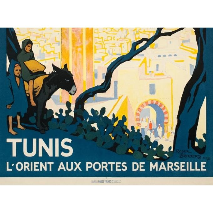 Vintage travel poster - Rogers Broders - 1920 - Tunis L'Orient Aux Portes de Marseille - 42.3 by 30.3 inches - 3