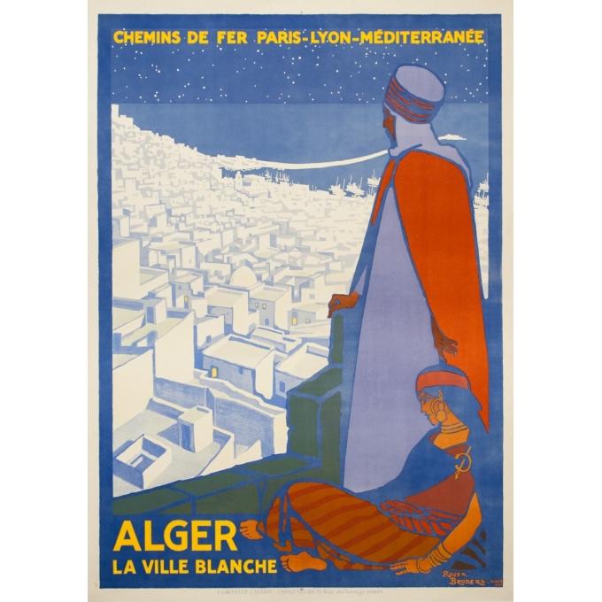 Affiche ancienne de voyage - Rogers Broders - 1920 - Alger La Ville Blanche - 108 par 77 cm