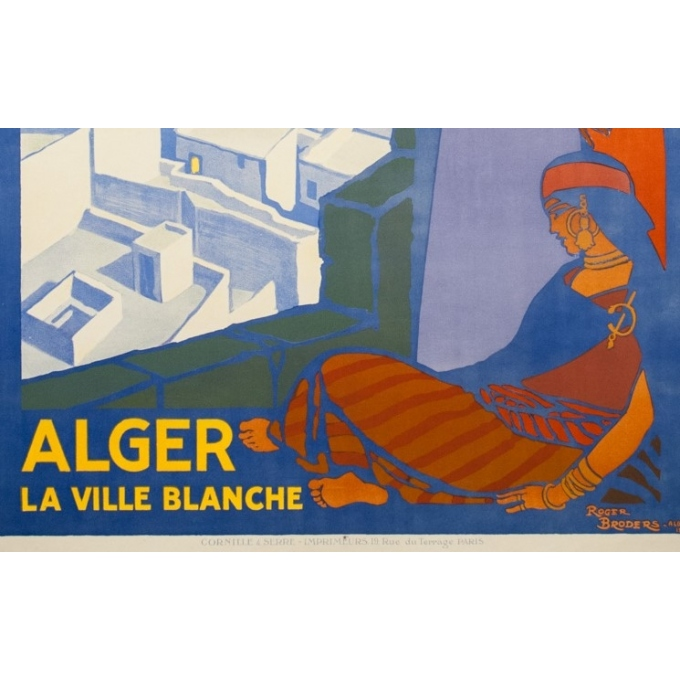 Affiche ancienne de voyage - Rogers Broders - 1920 - Alger La Ville Blanche - 108 par 77 cm - 3
