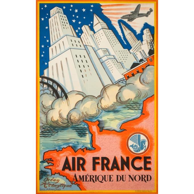 Affiche ancienne de voyage - Guy Arnoux - 1946 - Air France Amérique Du Nord USA - 98.5 par 62 cm