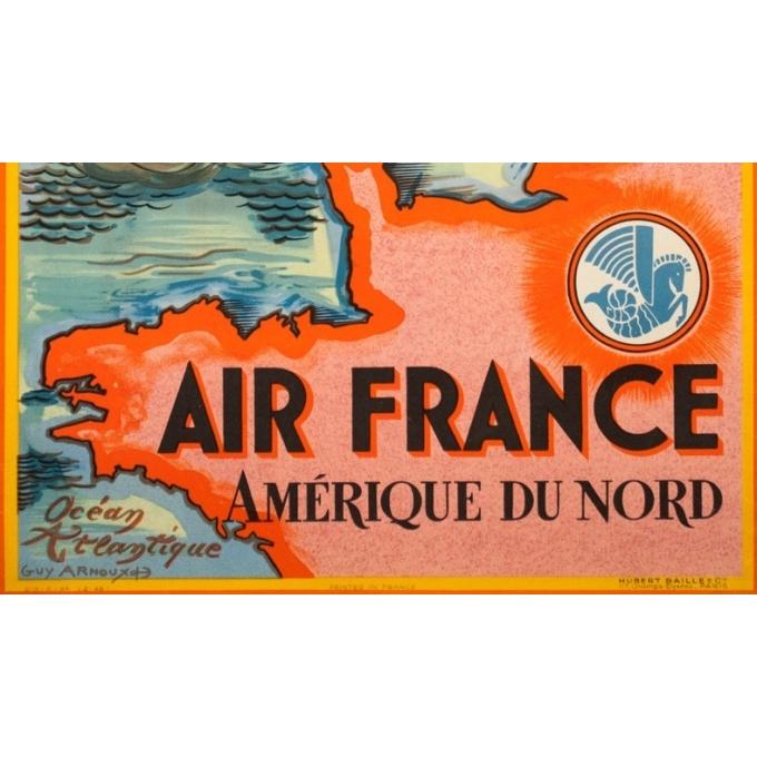 Affiche ancienne de voyage - Guy Arnoux - 1946 - Air France Amérique Du Nord USA - 98.5 par 62 cm - 3