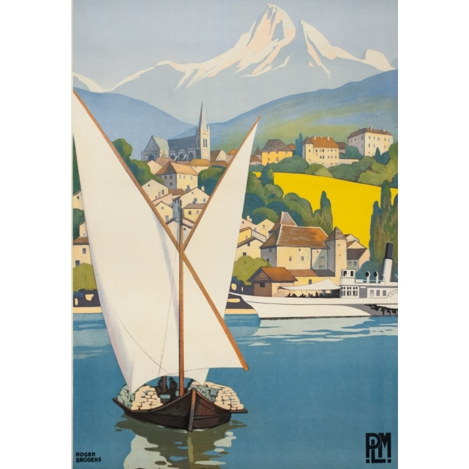 Vintage travel poster - Rogers Broders - 1930 - Thonon Les Bains - 39.6 by 24.8 inches - 2