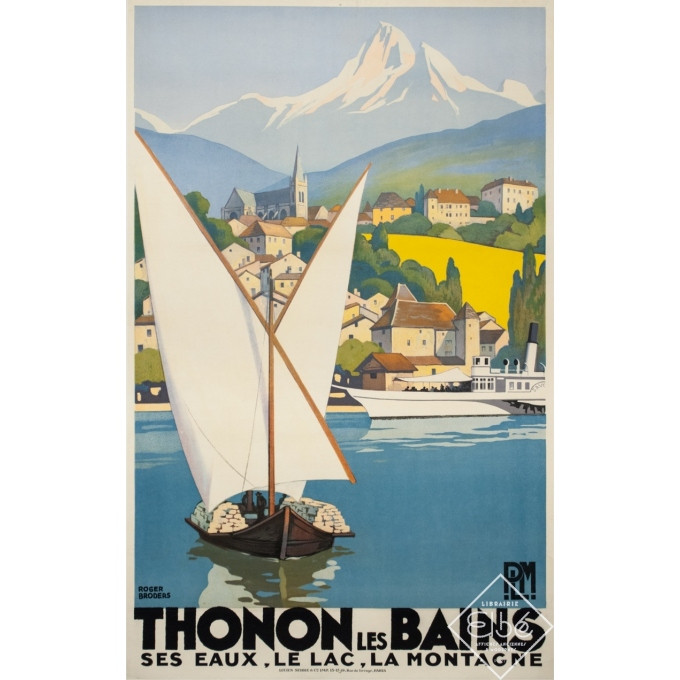 Vintage travel poster - Rogers Broders - 1930 - Thonon Les Bains - 39.6 by 24.8 inches