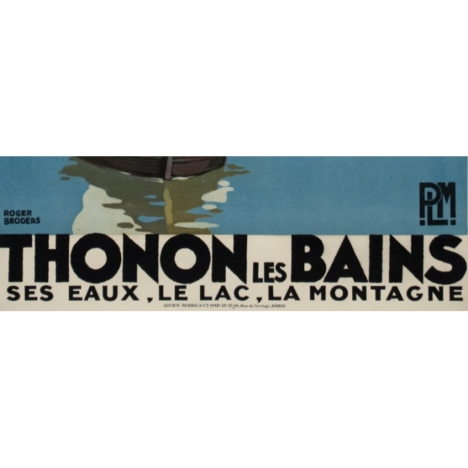 Vintage travel poster - Rogers Broders - 1930 - Thonon Les Bains - 39.6 by 24.8 inches - 3