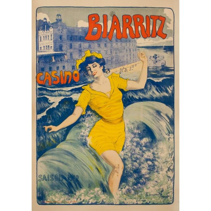 Affiche ancienne de voyage - Larramet - 1902 - Biarritz Casino - 116.5 par 80 cm