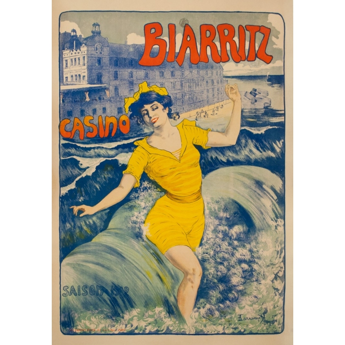 Vintage travel poster - Larramet - 1902 - Biarritz Casino - 45.9 by 31.5 inches