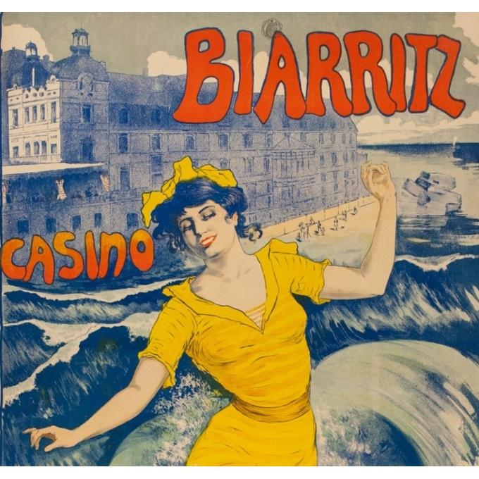 Vintage travel poster - Larramet - 1902 - Biarritz Casino - 45.9 by 31.5 inches - 2