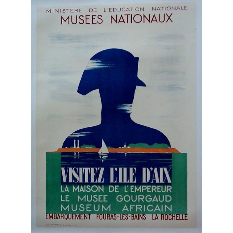 Original french poster, western France. Visitez l'île d'Aix. Elbé Paris.