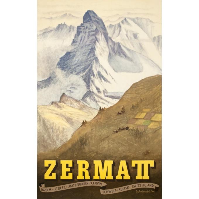 Vintage travel poster - Aufdendlastten - 1956 - Zermatt - 40.2 by 25.6 inches