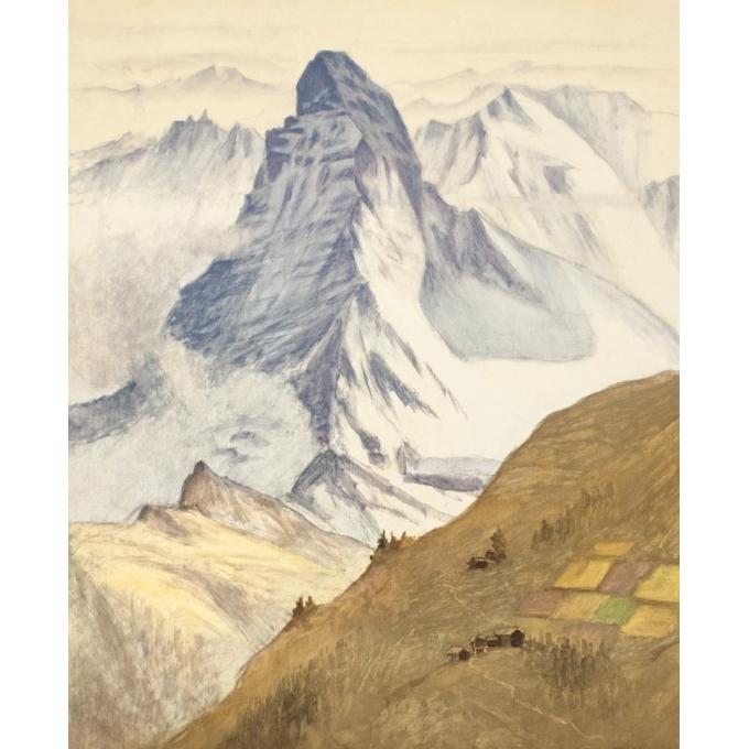 Affiche ancienne de voyage - Aufdendlastten - 1956 - Zermatt - 102 par 65 cm - 2