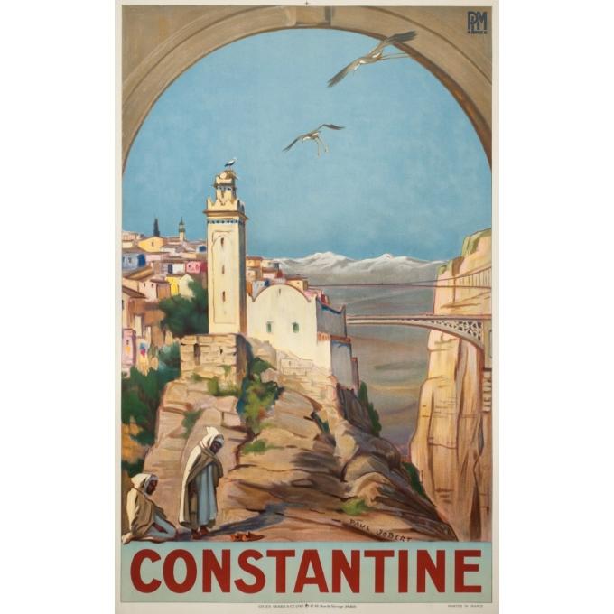 Affiche ancienne de voyage - Paul Jobert - 1926 - Constantine - 100 par 62 cm