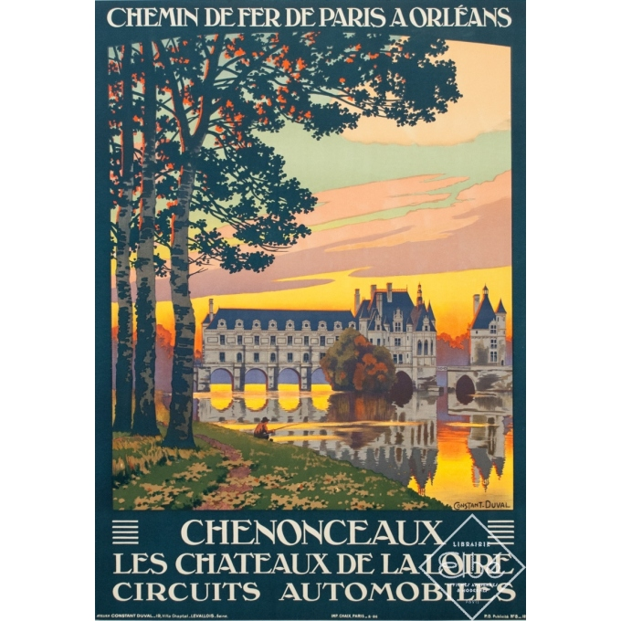 Affiche ancienne de voyage - Constant Duval - 1926 - Chenonceaux Les Chateaux de la Loire Circuits Automobiles - 105 par 74.5 cm