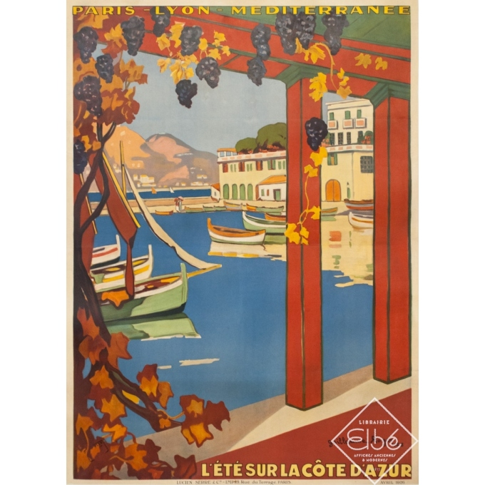 Affiche ancienne de voyage - Guillaume Rogers - 1926 - L'Été Sur La Côte D'Azur Villefranche - 104.5 par 76 cm