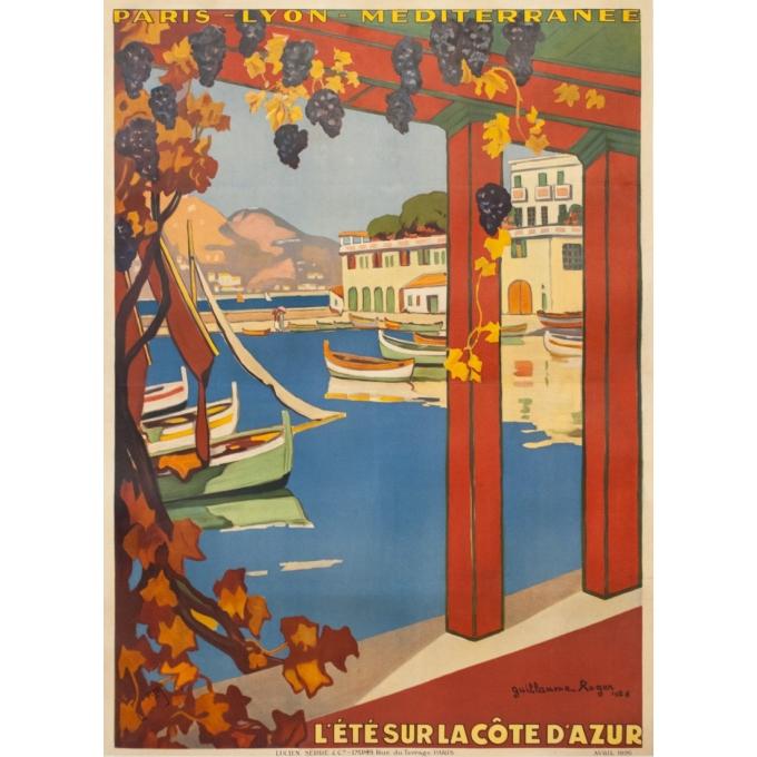 Vintage travel poster - Guillaume Rogers - 1926 - L'Été Sur La Côte D'Azur Villefranche - 41.1 by 29.9 inches