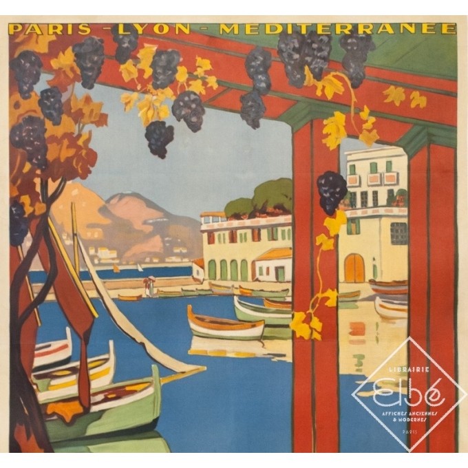 Vintage travel poster - Guillaume Rogers - 1926 - L'Été Sur La Côte D'Azur Villefranche - 41.1 by 29.9 inches - 2