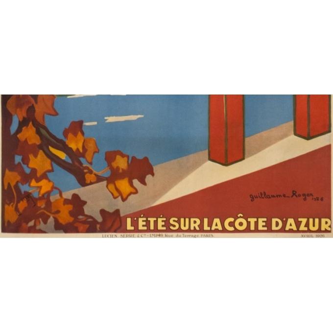 Affiche ancienne de voyage - Guillaume Rogers - 1926 - L'Été Sur La Côte D'Azur Villefranche - 104.5 par 76 cm - 3