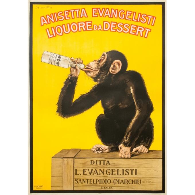 Affiche ancienne - Biscaretti - 1925 - Anisetta Evangelisti - 140 par 100 cm