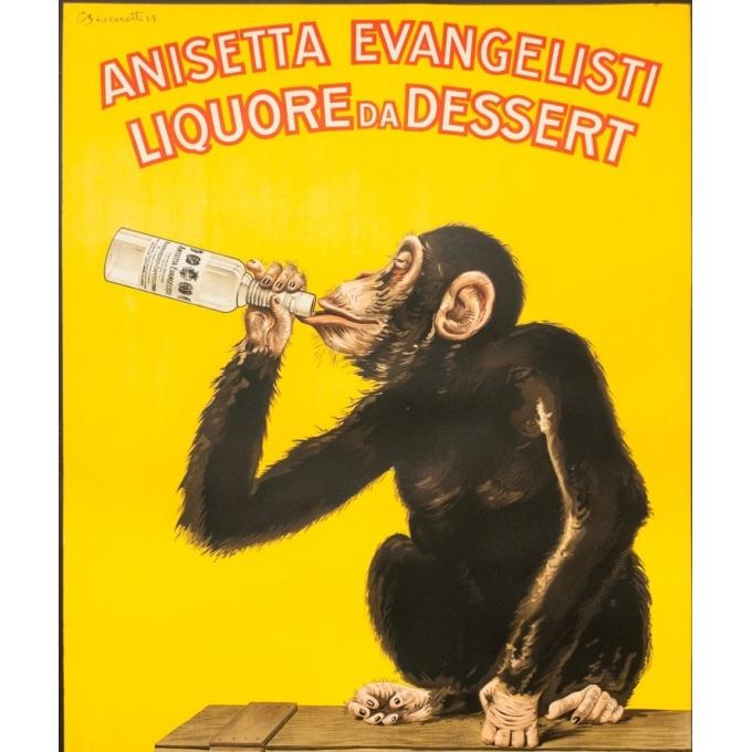 Affiche ancienne - Biscaretti - 1925 - Anisetta Evangelisti - 140 par 100 cm - 2