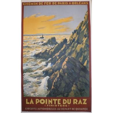 Affiche La Pointe du Raz (Finistère), circuits automobiles au départ de Quimper. Elbé Paris.