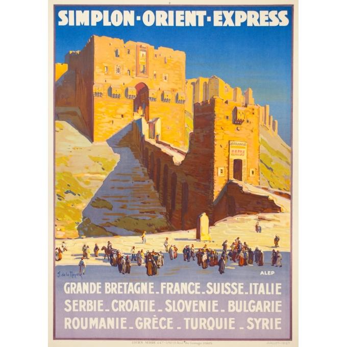 Affiche ancienne de voyage - Joseph de la Nézière - 1927 - Simplon Orient Express Alep - 107 par 77 cm