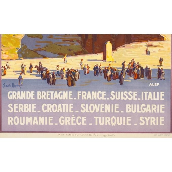 Vintage travel poster - Joseph de la mézière - 1927 - Simplon Orient Express Alep - 42.1 by 30.3 inches - 3