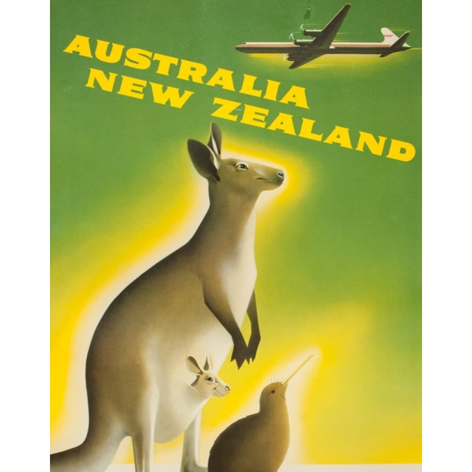 Vintage travel poster - Anonyme - Circa 1950 - Australia New Zeland Fly Canadian Pacific - 35.4 by 24 inches - 2