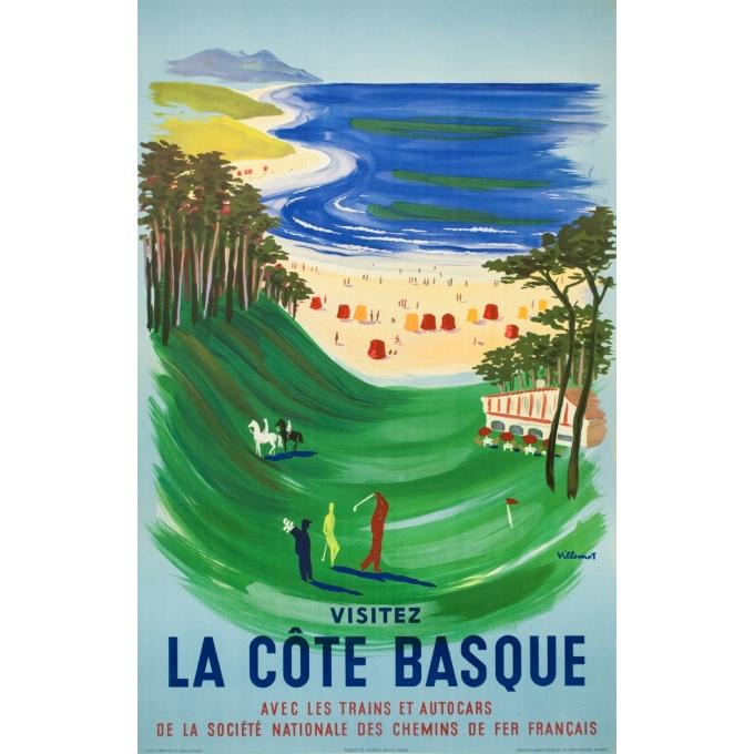 Affiche ancienne de voyage - Henri Laulhé - Circa 1950 - Hendaye Côte Basque - 101 par 64 cm