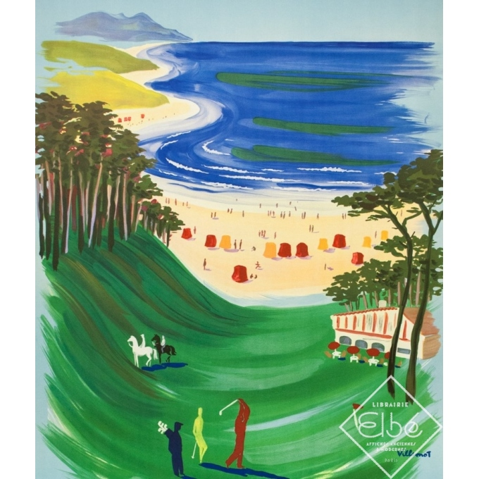 Affiche ancienne de voyage - Villemot - 1957 - Visitez Côte Basque - 99 par 57 cm - 2