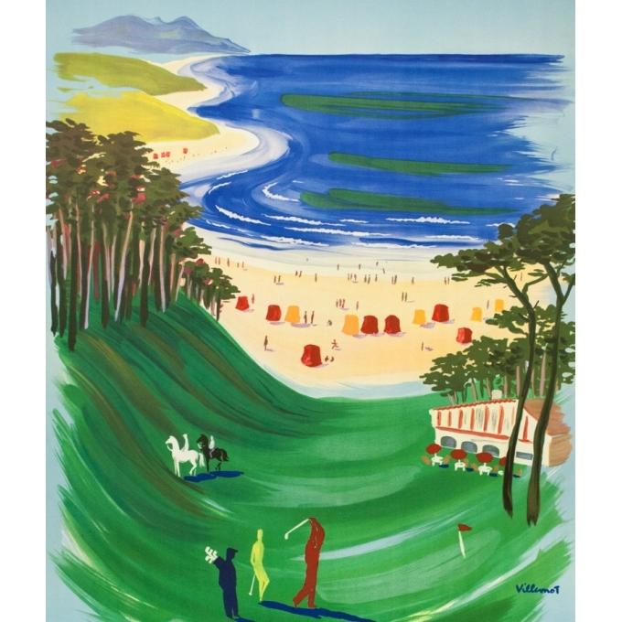 Vintage travel poster - Villemot - 1957 - Visitez la Côte Basque - 39 by 24.4 inches - 2