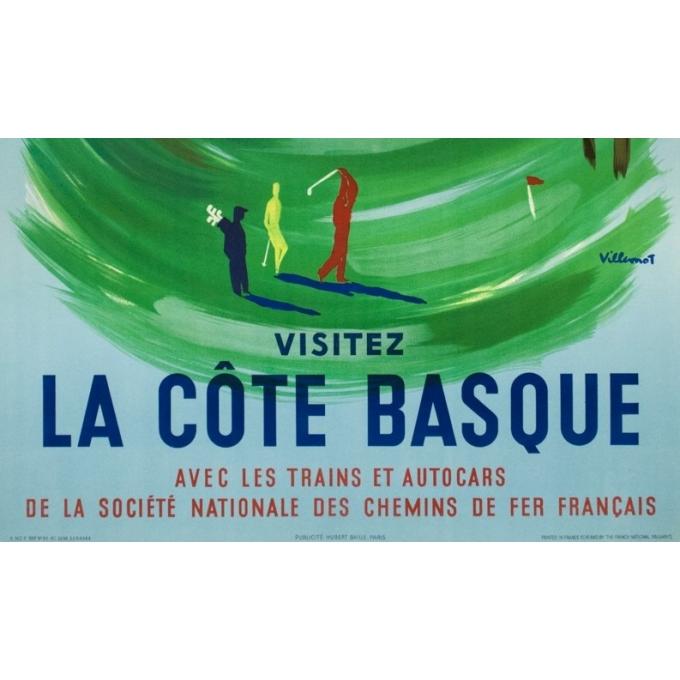Affiche ancienne de voyage - Villemot - 1957 - Hendaye Côte Basque - 99 par 57 cm - 3