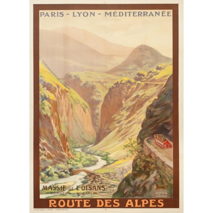 Affiche ancienne de voyage - René Péan - Circa 1910 - Route Des Alpes PLM Massif De L'Oisans - 108 par 79 cm
