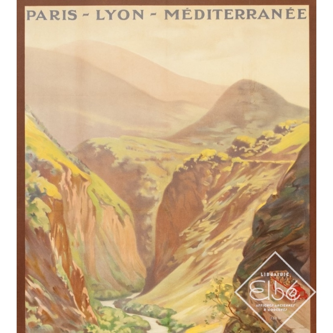 Affiche ancienne de voyage - René Péan - Circa 1910 - Route Des Alpes PLM Massif De L'Oisans - 108 par 79 cm - 2