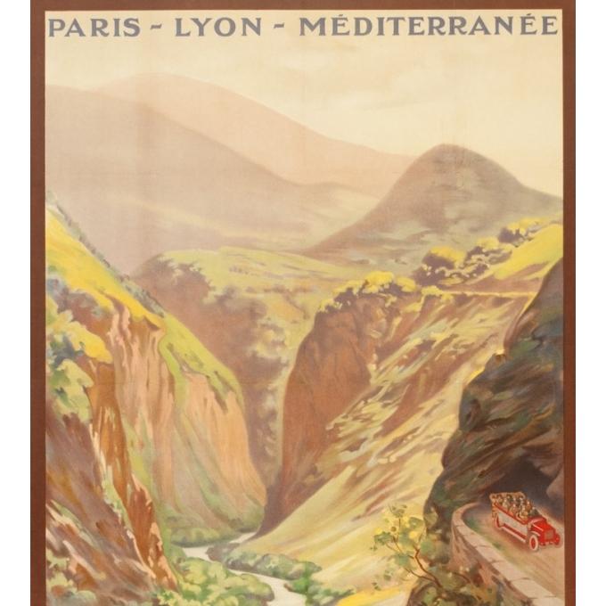 Vintage travel poster - René Péan - Circa 1910 - Route Des Alpes PLM Massif De L'Oisans - 42.5 by 31.1 inches - 2