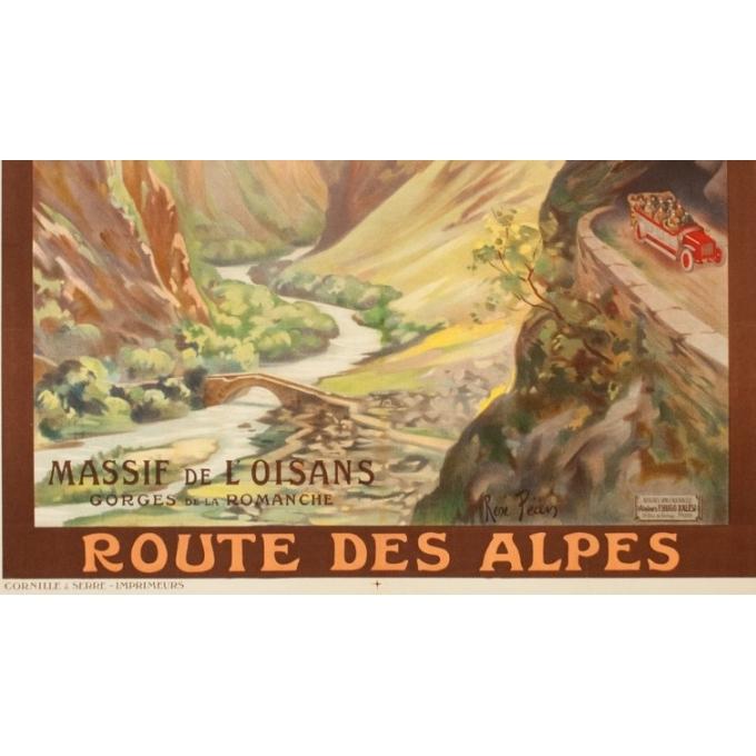 Affiche ancienne de voyage - René Péan - Circa 1910 - Route Des Alpes PLM Massif De L'Oisans - 108 par 79 cm - 3
