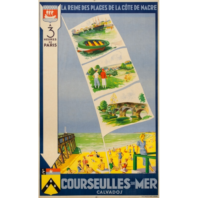 Vintage travel poster - M. Thierry - Circa 1930 - Courseulles Sur Mer Calvados Normandie - 39 by 24 inches