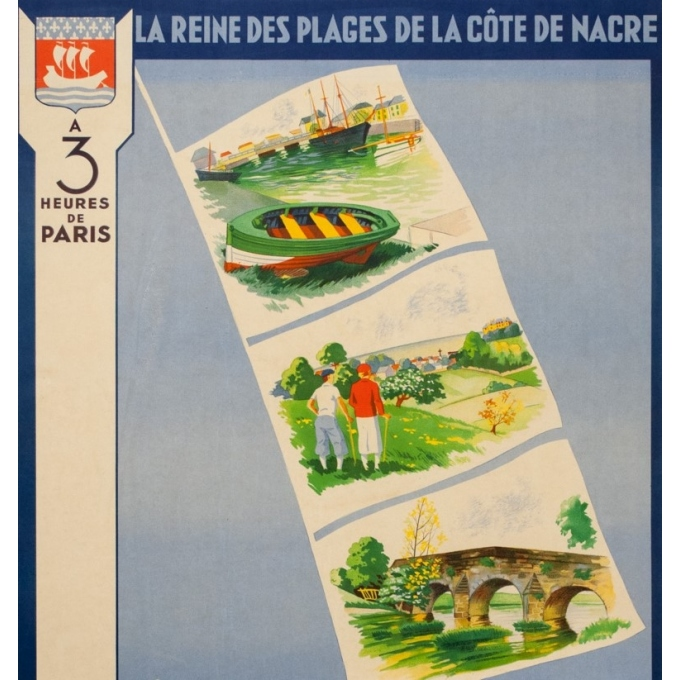 Vintage travel poster - M. Thierry - Circa 1930 - Courseulles Sur Mer Calvados Normandie - 39 by 24 inches - 2