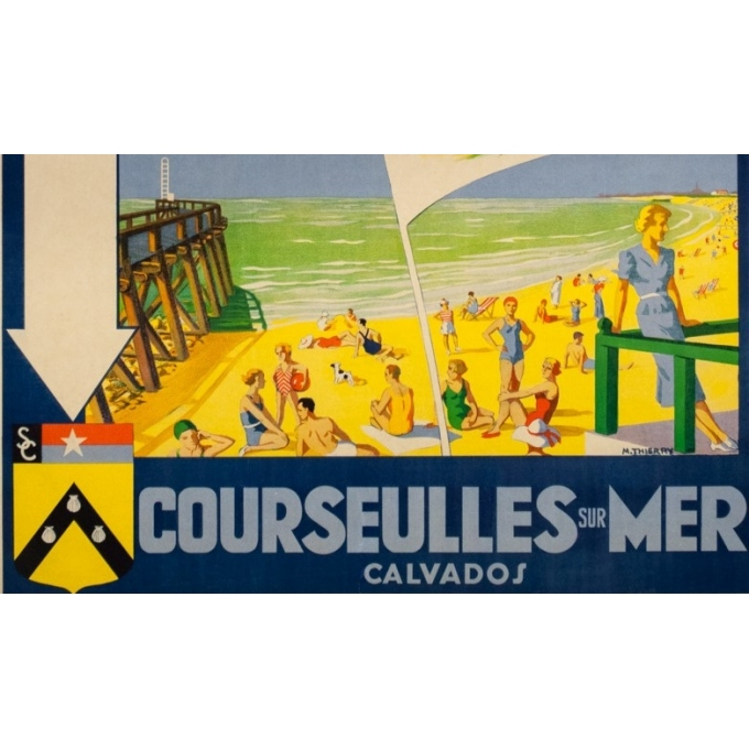 Vintage travel poster - M. Thierry - Circa 1930 - Courseulles Sur Mer Calvados Normandie - 39 by 24 inches - 3