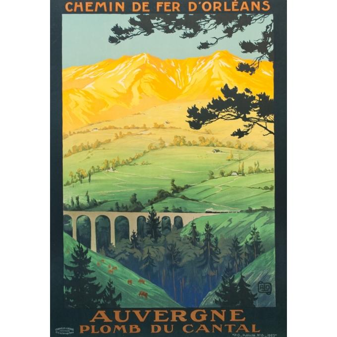 Affiche ancienne de voyage - Hallo - 1923 - Auvergne Plomb Du Cantal - 104.5 par 74 cm