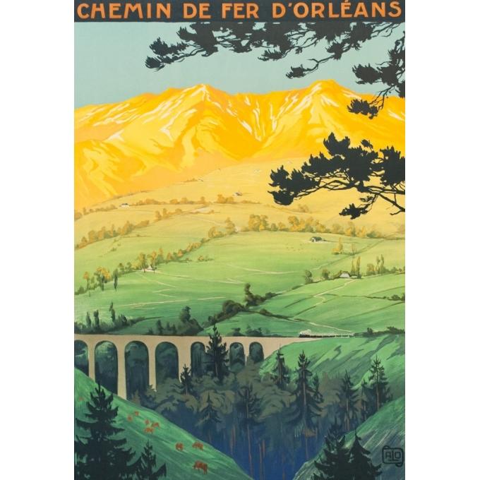 Affiche ancienne de voyage - Hallo - 1923 - Auvergne Plomb Du Cantal - 104.5 par 74 cm - 2